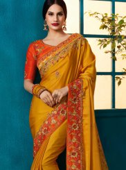 Mustard Faux Georgette Designer Traditional Saree