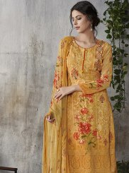 Mustard Faux Georgette Mehndi Pant Style Suit