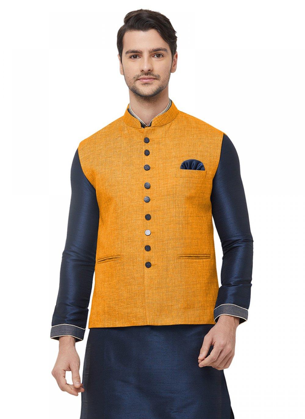 Mustard Festival Jute Nehru Jackets