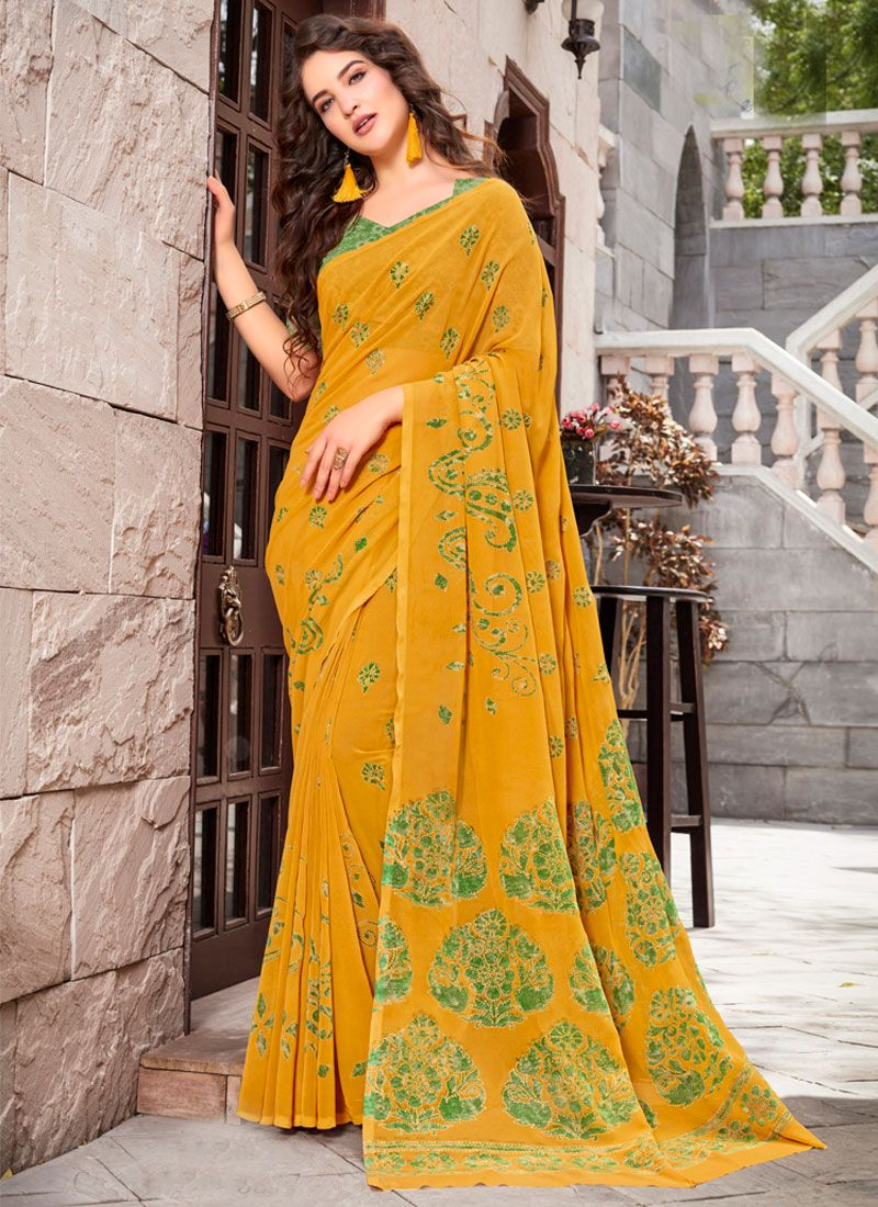 Mustard Georgette Casual Saree