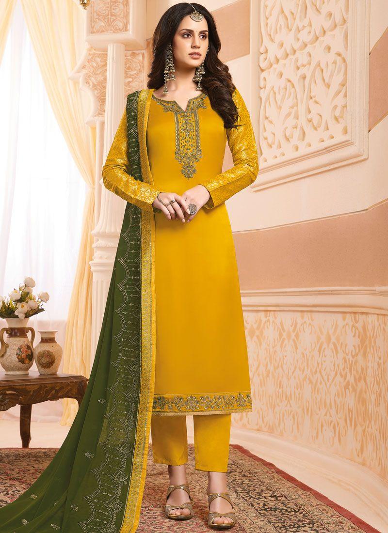 Mustard Handwork Designer Salwar Suit