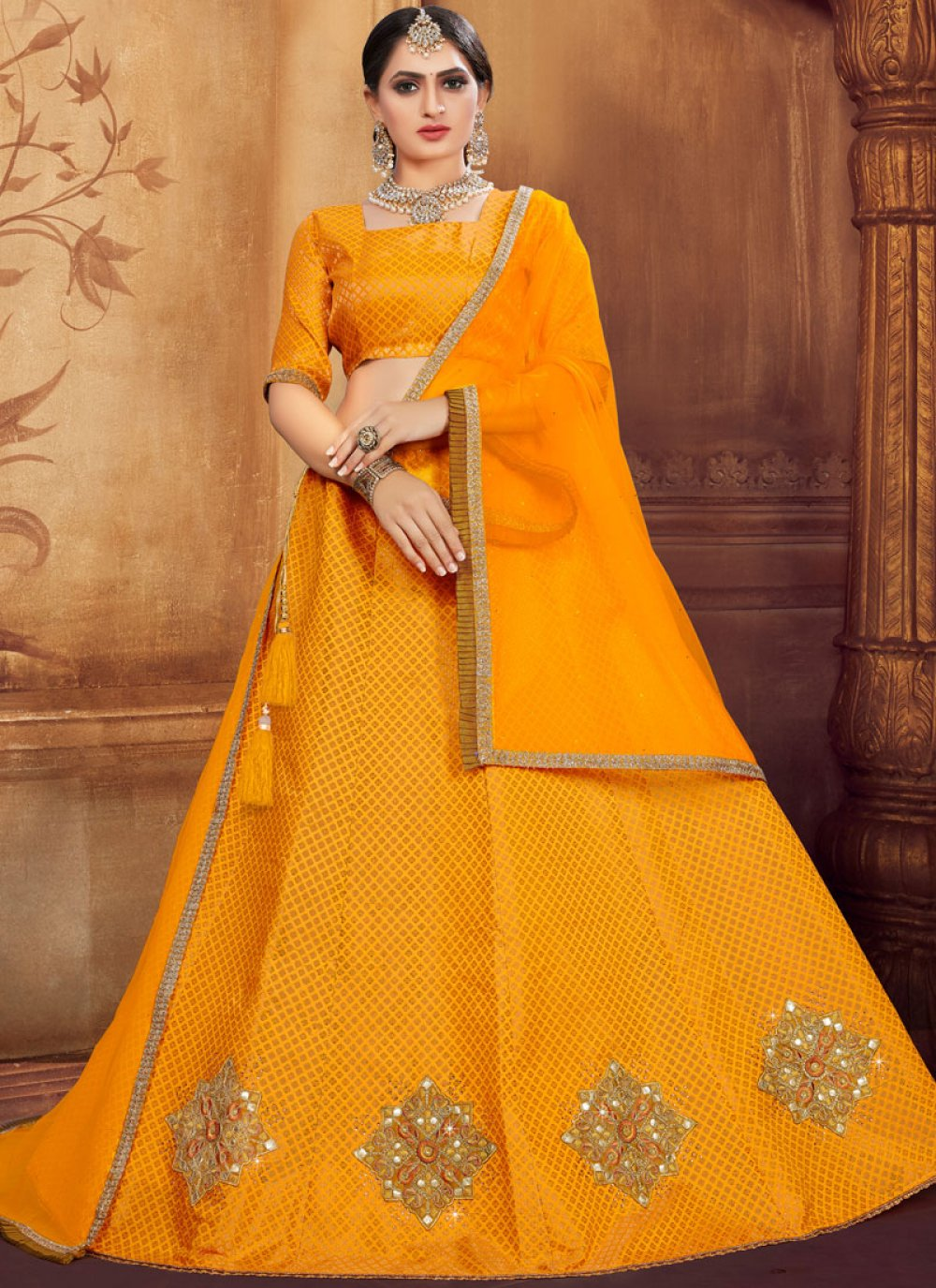 Mustard Party Trendy Designer Lehenga Choli