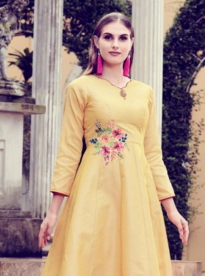 Mustard Patchwork Art Silk Party Wear Kurti