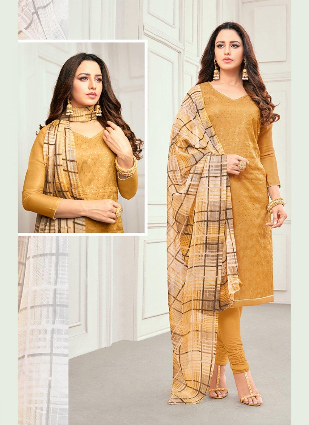 Mustard Printed Linen Salwar Kameez