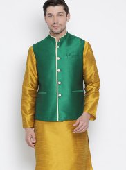 Mustard Reception Cotton Kurta Payjama With Jacket