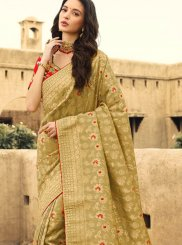 Mustard Reception Trendy Saree