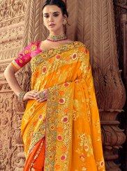 Mustard Silk Embroidered Classic Saree