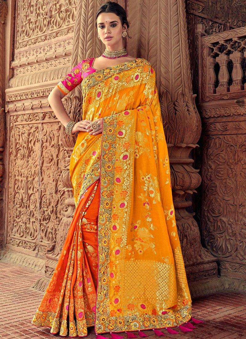 Mustard Silk Embroidered Classic Saree