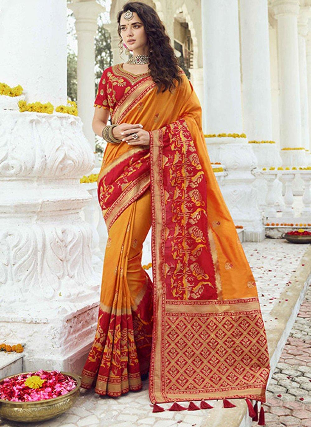 Mustard Wedding Jacquard Silk Traditional Saree