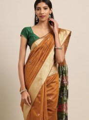 Mustard Woven Traditional Saree