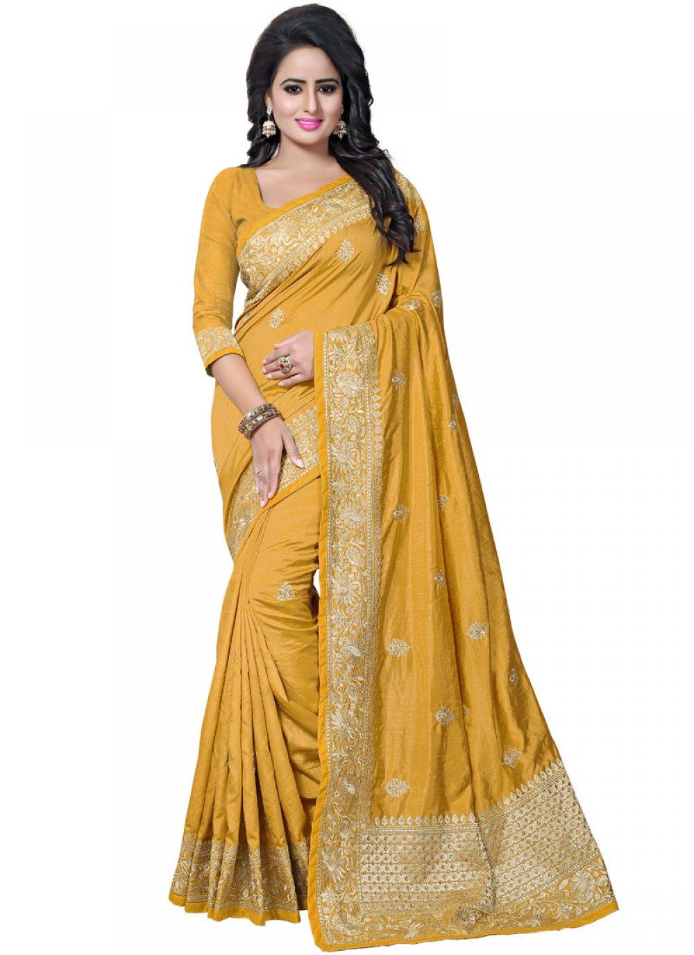 Mustard Zari Art Silk Traditional Saree
