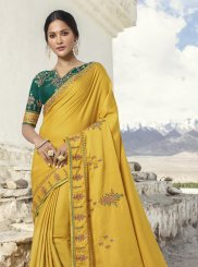 Mustard Zari Party Designer Traditional Saree