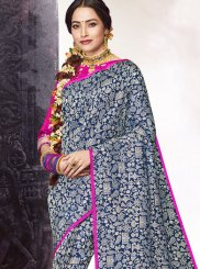 Navy Blue Abstract Print Classic Designer Saree