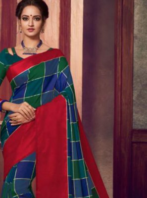 Navy Blue Abstract Print Classic Saree