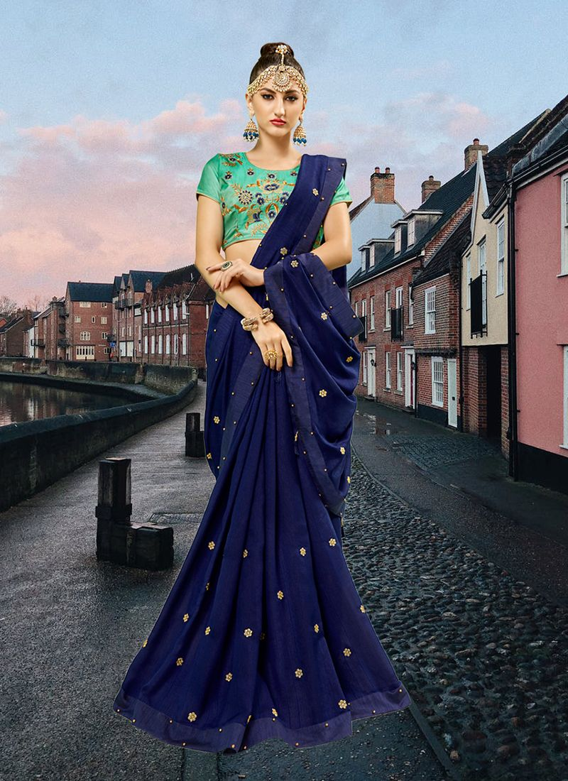 Navy Blue Abstract Print Faux Georgette Printed Saree
