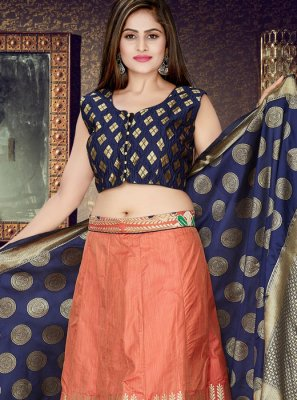 Navy Blue and Peach Weaving Art Silk Readymade Lehenga Choli