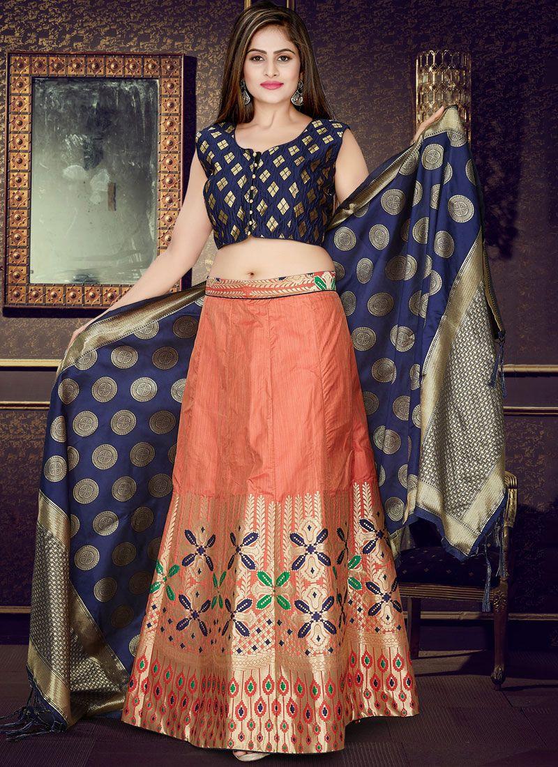 Navy Blue and Peach Weaving Art Silk Readymade Lehenga Choli