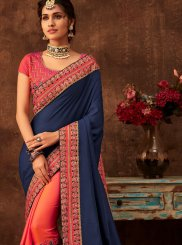 Navy Blue and Pink Poly Silk Festival Half N Half Designer Saree