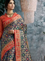 Navy Blue and Red Banarasi Silk Designer Traditional Saree