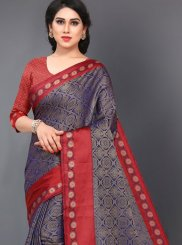 Navy Blue and Red Casual Silk Casual Saree