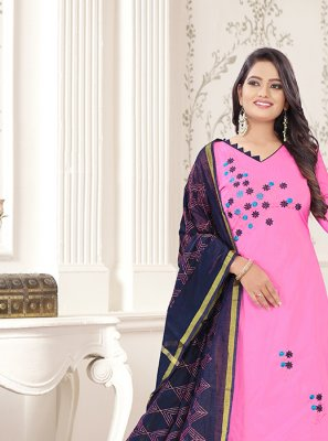 Navy Blue and Rose Pink Cotton Churidar Designer Suit