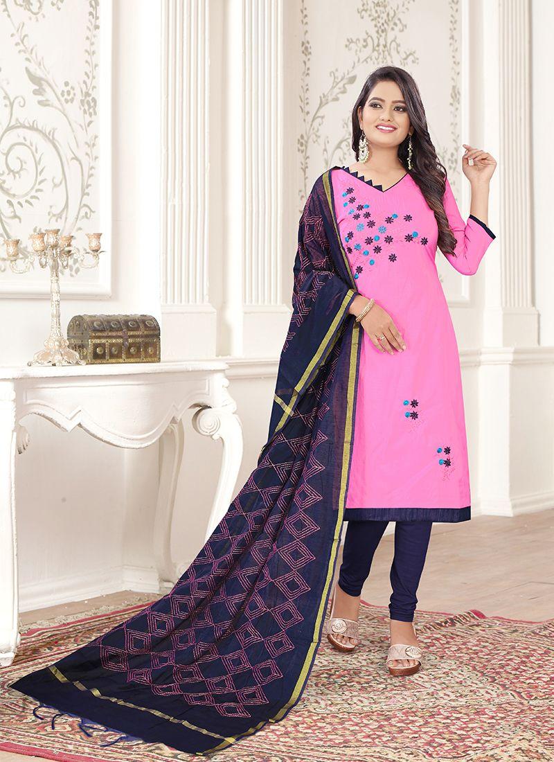 Navy Blue and Rose Pink Cotton Churidar Designer Suit
