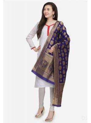 Navy Blue Art Banarasi Silk Designer Dupatta