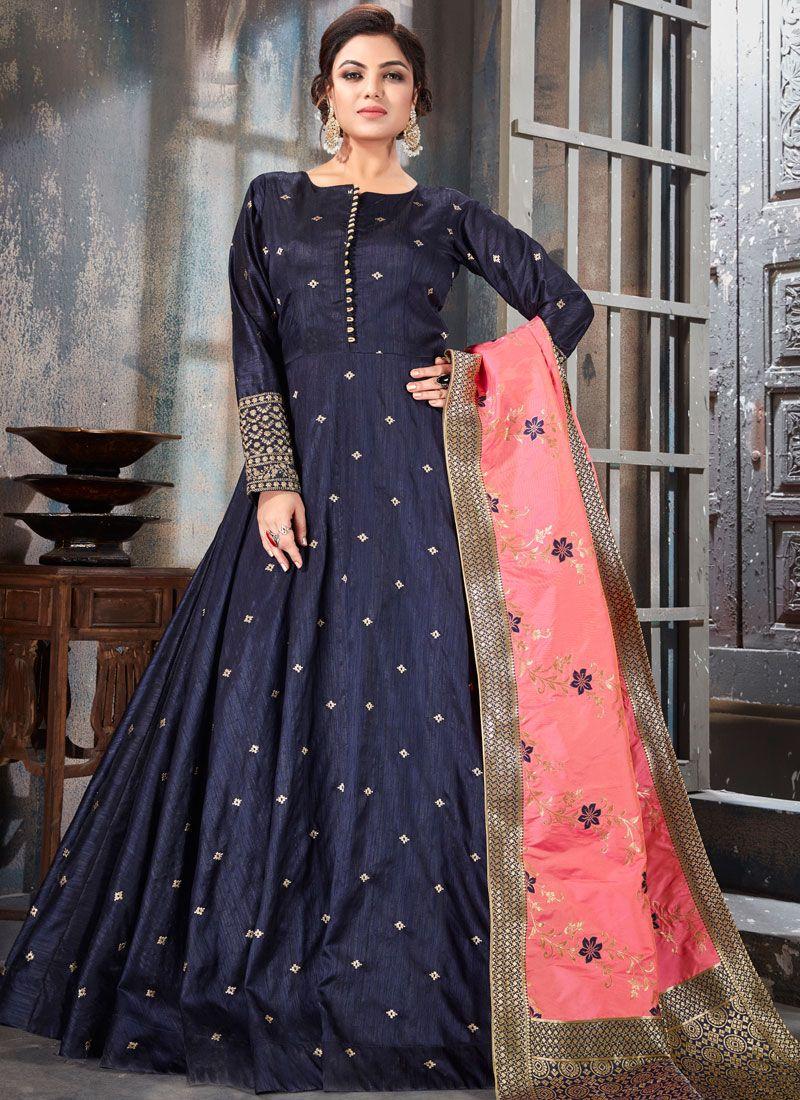 Navy Blue Art Raw Silk Embroidered Anarkali Salwar Kameez