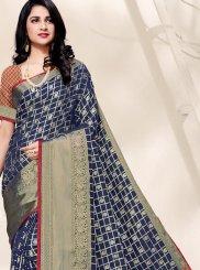 Navy Blue Art Silk Ceremonial Designer Traditional Saree