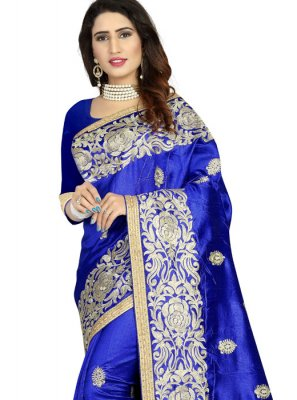 Navy Blue Art Silk Classic Designer Saree