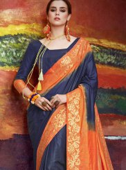 Navy Blue Art Silk Classic Saree