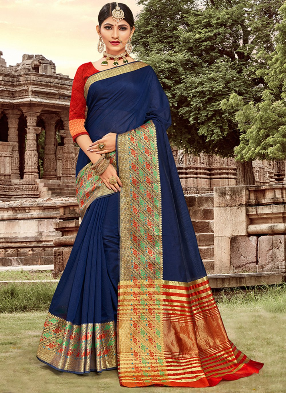 Navy Blue Art Silk Cotton Designer Traditional Saree