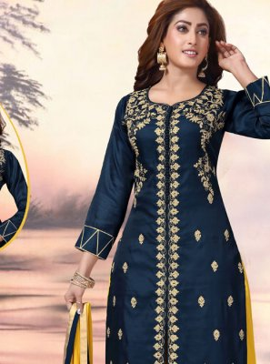 Navy Blue Art Silk Embroidered Readymade Suit