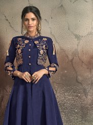 Navy Blue Art Silk Mehndi Designer Gown