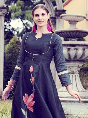 Navy Blue Art Silk Party Wear Kurti
