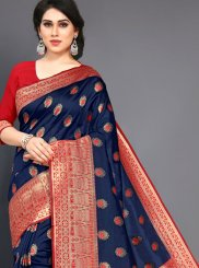 Navy Blue Art Silk Traditional Designer Saree