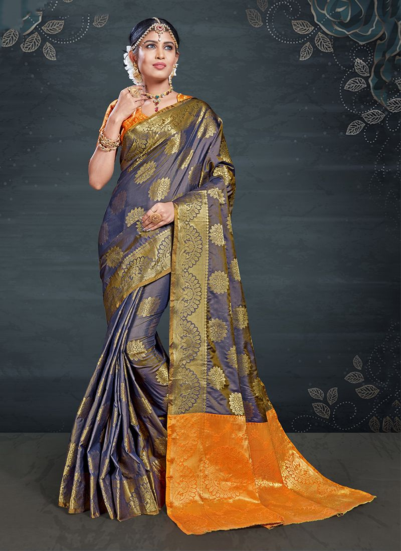 Navy Blue Art Silk Weaving Traditional Designer Saree