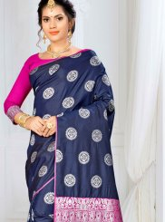 Navy Blue Banarasi Silk Traditional Saree