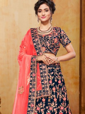 Navy Blue Bridal Trendy Designer Lehenga Choli