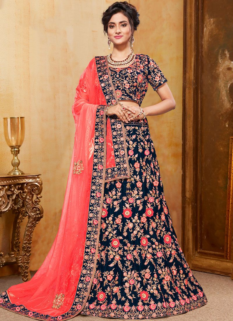 Navy Blue Bridal Trendy Designer Lehenga Choli