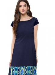 Navy Blue Casual Faux Crepe Casual Kurti