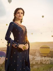 Navy Blue Ceremonial Georgette Satin Designer Pakistani Suit