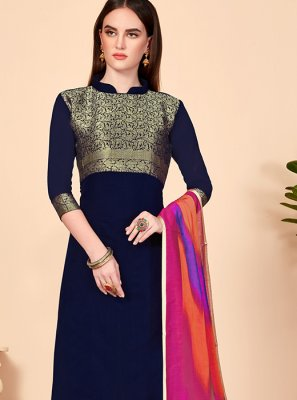 Navy Blue Color Churidar Salwar Suit