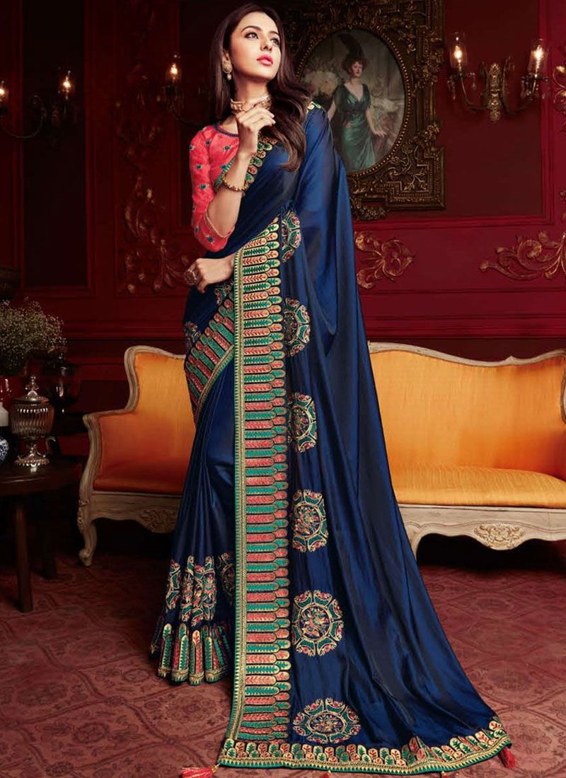 Navy Blue Color Saree