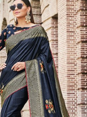 Navy Blue Color Traditional Saree