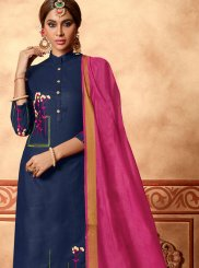 Navy Blue Cotton Churidar Designer Suit