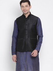Navy Blue Cotton Kurta Payjama With Jacket