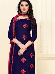 Navy Blue Cotton Print Churidar Suit