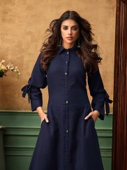 Navy Blue Cotton Satin Party Wear Kurti