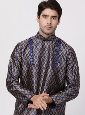 Navy Blue Cotton Silk Kurta Pyjama